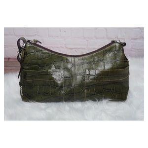 Fossil Green Croc Embossed leather handbag